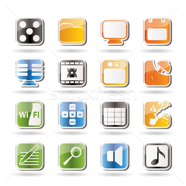 Stockfoto: Telefoon · prestaties · internet · kantoor · iconen · vector