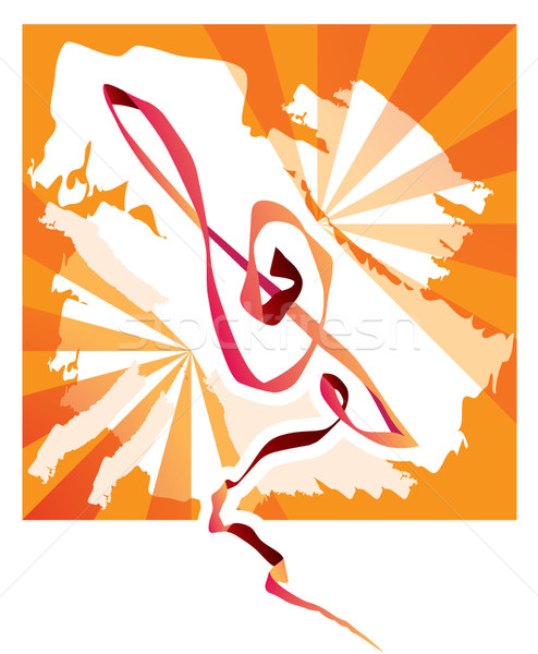 Zene jegyzet háttér narancs ajkak tetoválás Stock fotó © stoyanh