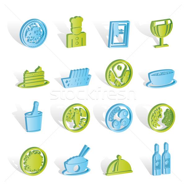Jedzenie w restauracji pić ikona wektora działalności Zdjęcia stock © stoyanh