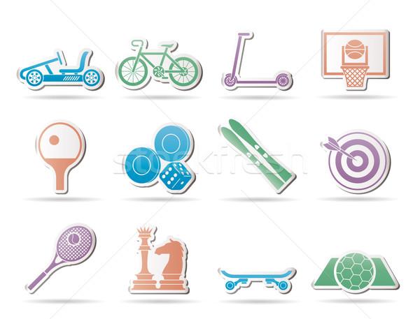 Artículos deportivos objetos iconos vector coche Foto stock © stoyanh