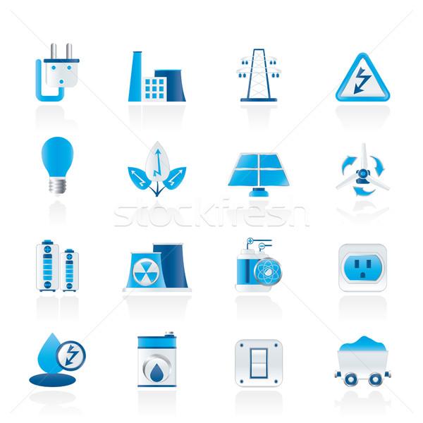 Pouvoir énergie électricité icônes vecteur Photo stock © stoyanh