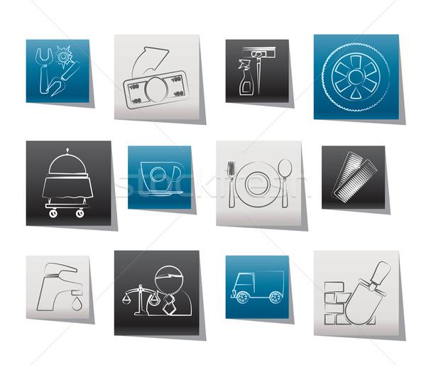 Services affaires icônes vecteur camion Photo stock © stoyanh