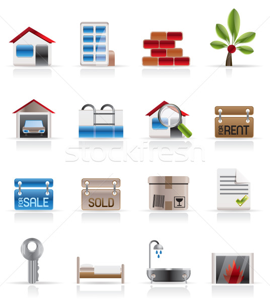 Realistisch onroerend iconen vector business Stockfoto © stoyanh