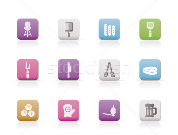Stock photo: picnic, barbecue and grill icons