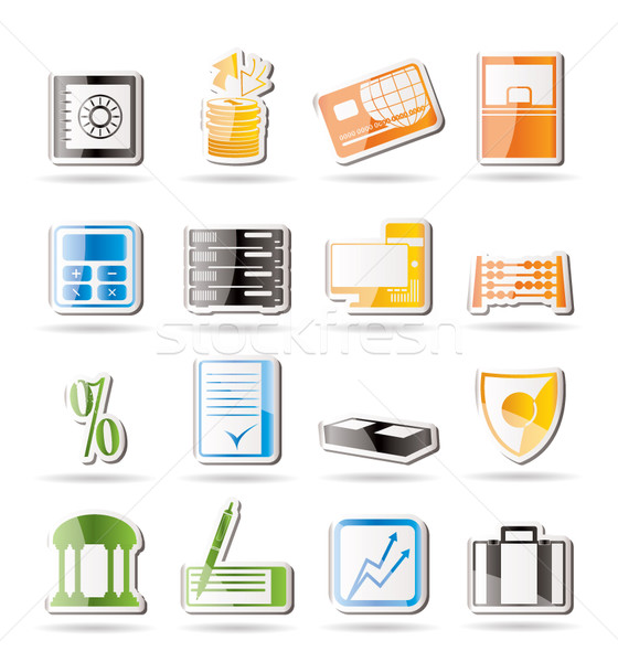 Stock photo: Simple bank, business, finance and office icons
