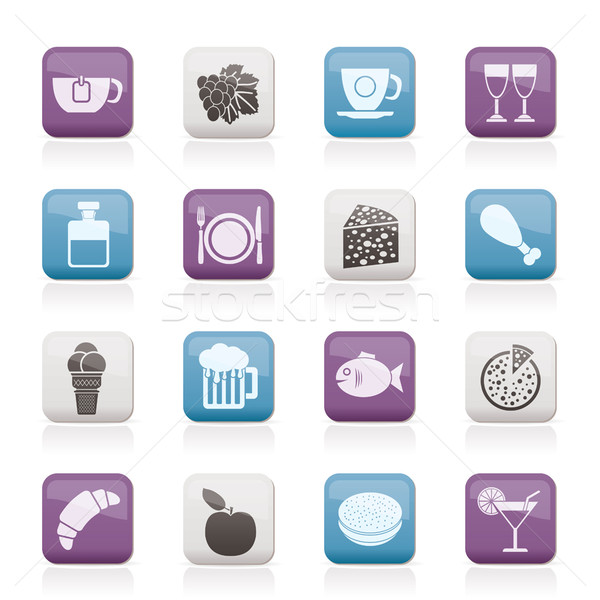Food, Drink and beverage icons Stock photo © stoyanh