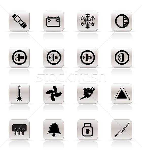 Autó műszerfal ikonok vektor ikon szett internet Stock fotó © stoyanh