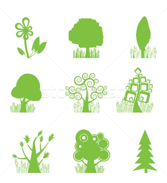 Streszczenie drzewo kolekcja ikona lasu sylwetka Zdjęcia stock © stoyanh