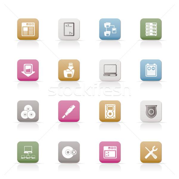 Servidor lado ícones do computador vetor internet Foto stock © stoyanh