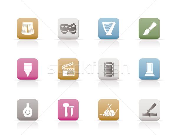 Stock fotó: Különböző · művészet · ikonok · vektor · ikon · gyűjtemény · absztrakt