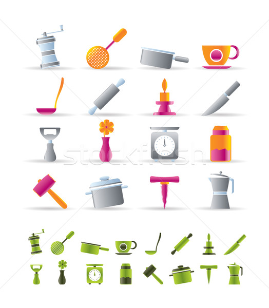 Kitchen and household tools icons Stock photo © stoyanh
