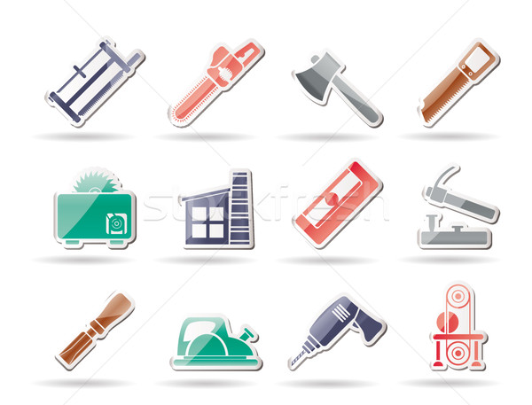 Stock photo: Woodworking industry and Woodworking tools icons