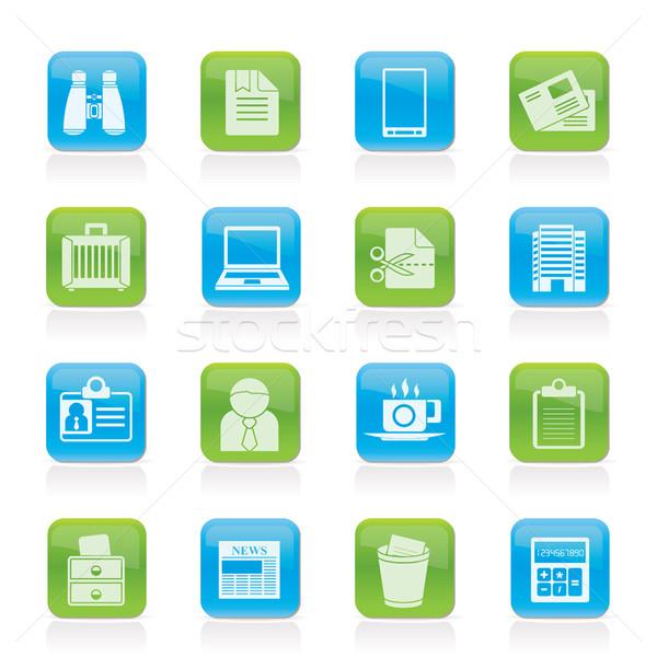 Działalności biuro elementy ikona wektora Zdjęcia stock © stoyanh