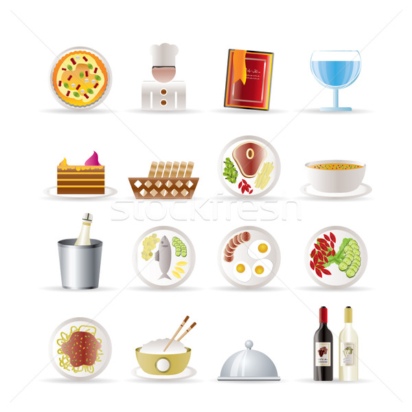 Restaurant, food and drink icons Stock photo © stoyanh