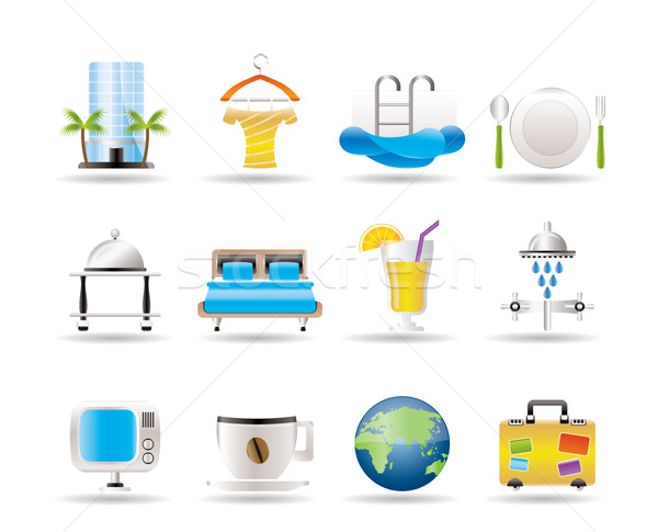 Hotel, motel and holidays icons Stock photo © stoyanh