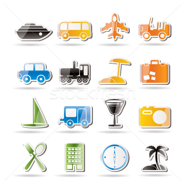 Utazás közlekedés turizmus ünnep ikonok vektor Stock fotó © stoyanh