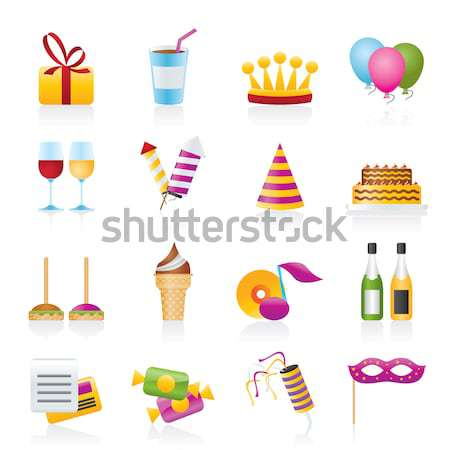 Stock photo: Party and holidays icons