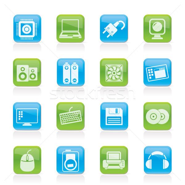 Komputera ikona wektora technologii Zdjęcia stock © stoyanh