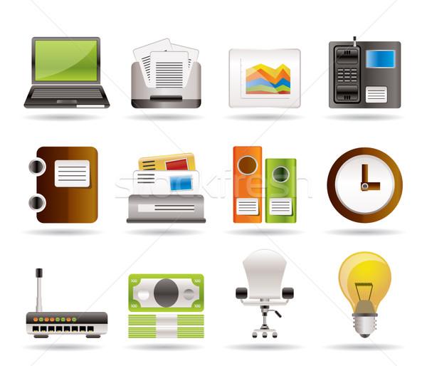 Stockfoto: Business · kantoor · iconen · vector · geld