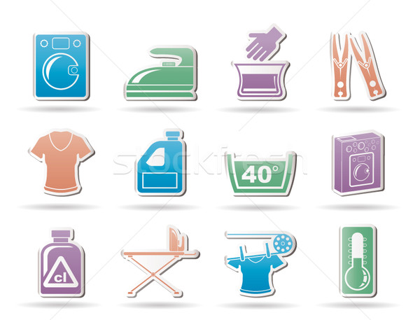 Washing machine and laundry icons  Stock photo © stoyanh