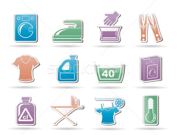 Stock photo: Washing machine and laundry icons