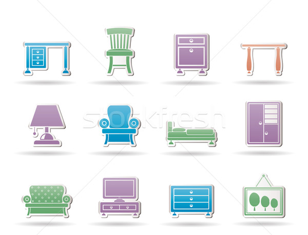Home Equipment and Furniture icons Stock photo © stoyanh