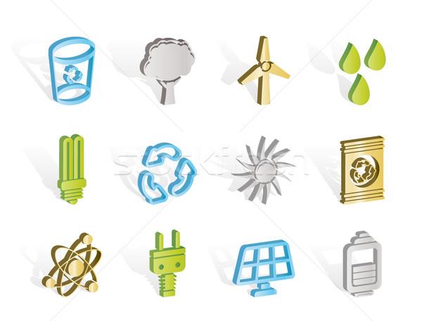 Foto stock: Ecologia · energia · natureza · ícones · vetor