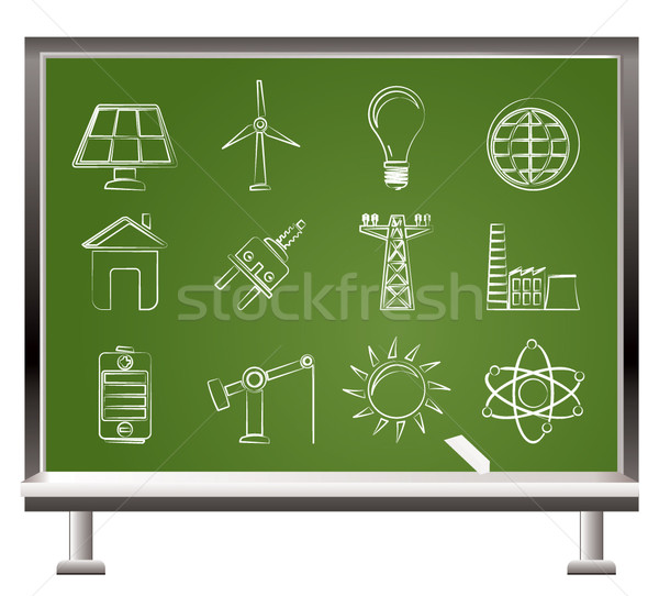 Geschilderd krijt macht energie elektriciteit iconen Stockfoto © stoyanh