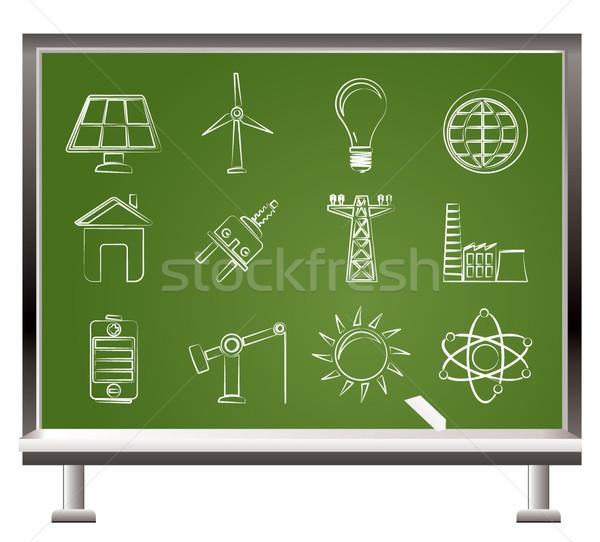 Foto stock: Pintado · giz · poder · energia · eletricidade · ícones