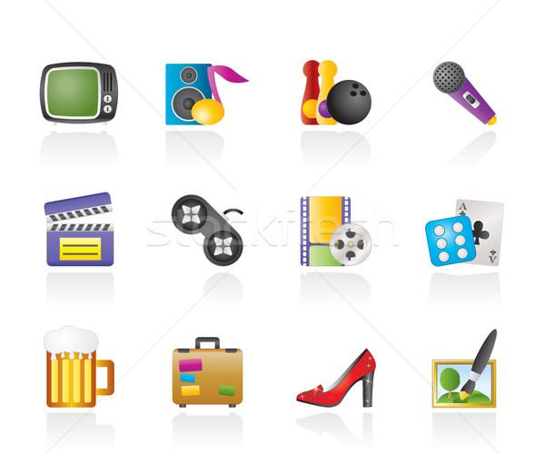 Szabadidős tevékenység tárgyak ikonok vektor ikon gyűjtemény divat Stock fotó © stoyanh