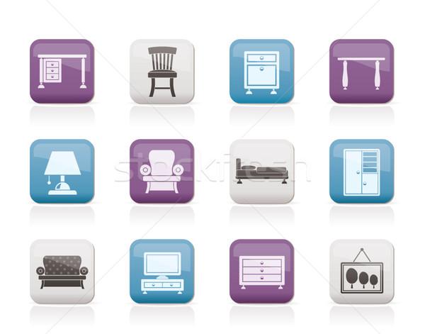 Stock fotó: Otthon · felszerlés · bútor · ikonok · vektor · ikon · gyűjtemény