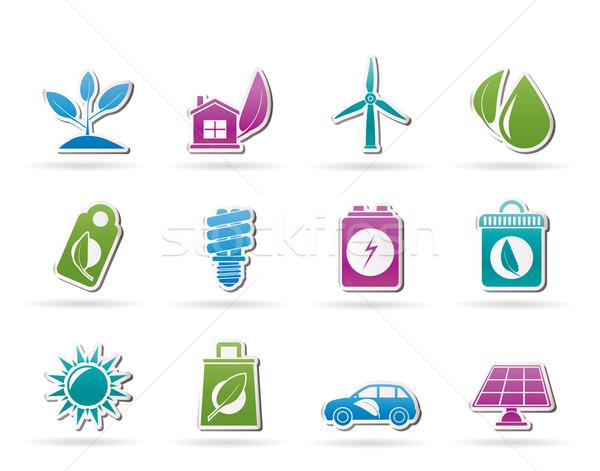 Zdjęcia stock: Zielone · środowiska · ikona · wektora · działalności