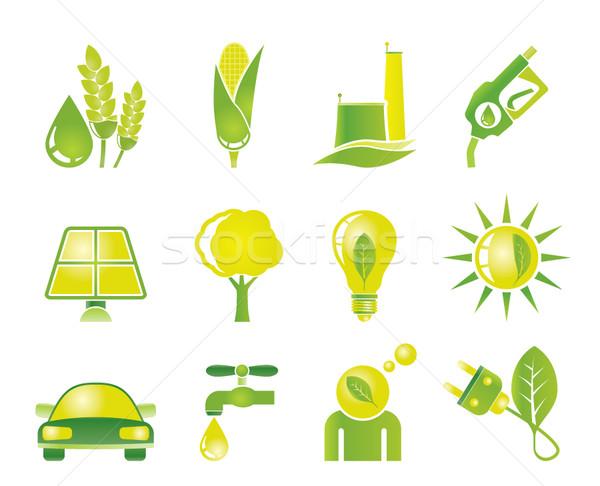 Ecología medio ambiente naturaleza iconos vector Foto stock © stoyanh