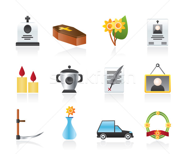 funeral and burial icons  Stock photo © stoyanh