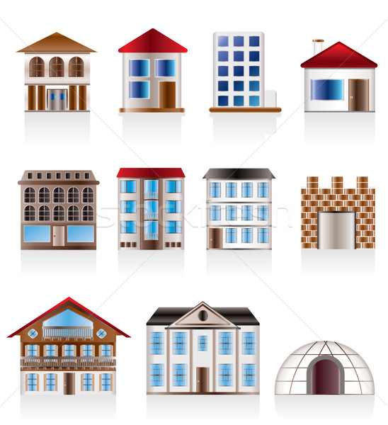 Various variants of houses and buildings Stock photo © stoyanh