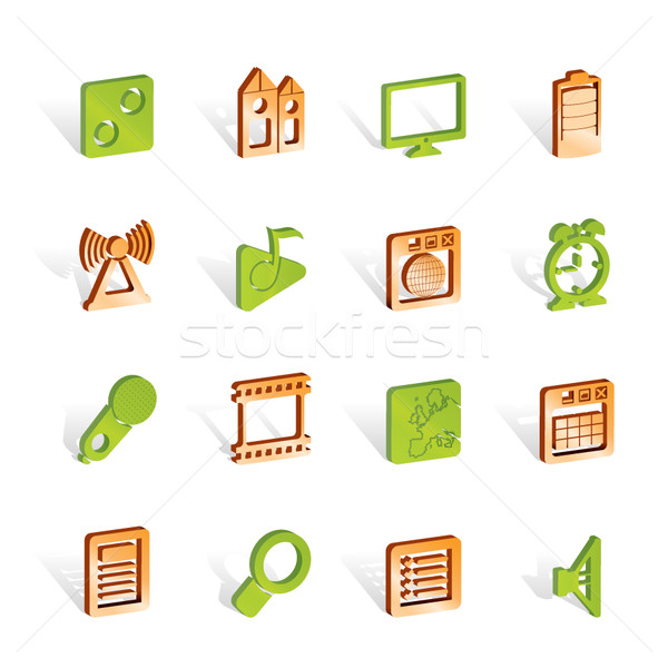 Mobile phone  performance, internet and office icons Stock photo © stoyanh