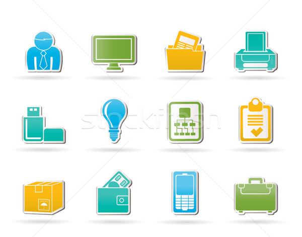 Business and office equipment icons Stock photo © stoyanh