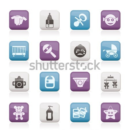 Stock photo: Baby, children and toys icons