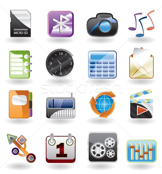 phone  performance, internet and office icon Stock photo © stoyanh