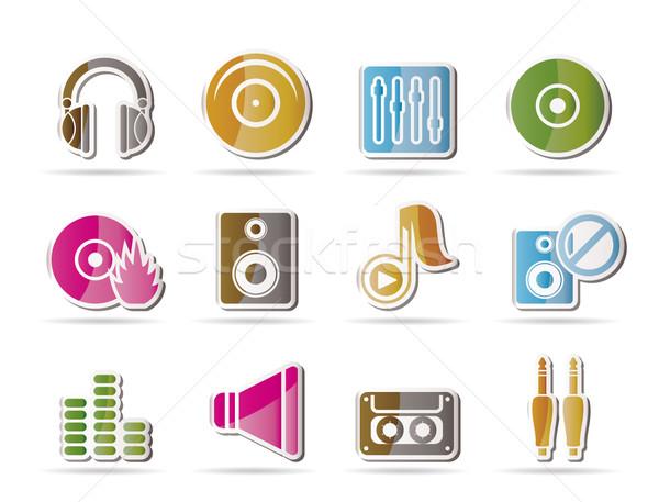 Foto stock: Música · soar · ícones · vetor · projeto