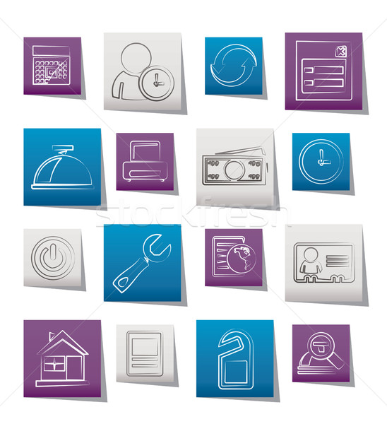 Foglalás hotel ikonok vektor ikon gyűjtemény óra Stock fotó © stoyanh