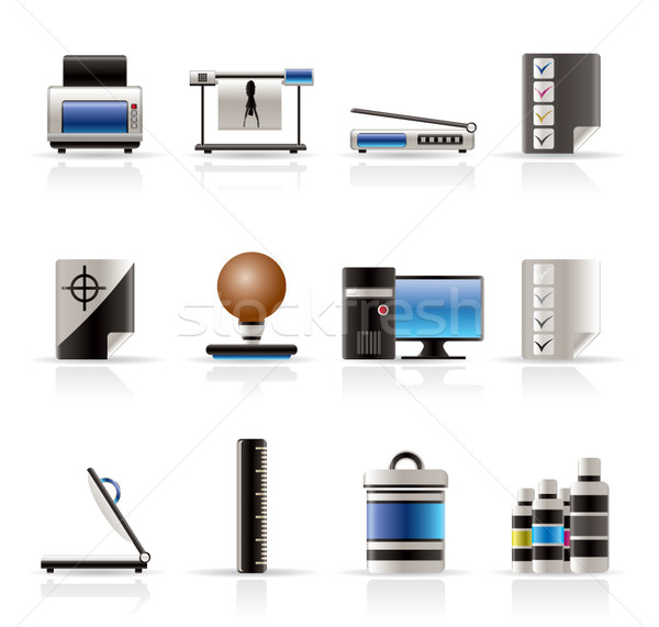 Realistic Print industry icons  Stock photo © stoyanh
