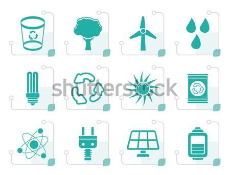Foto stock: Poder · energia · eletricidade · ícones · vetor