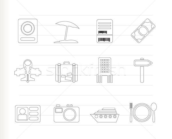 Reizen reis vakantie iconen vector Stockfoto © stoyanh