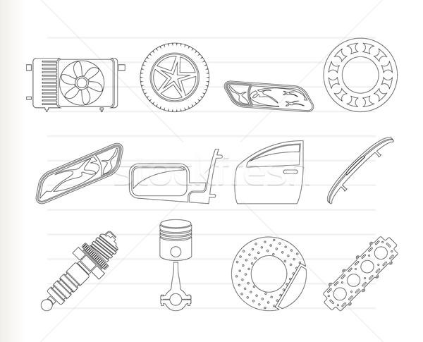 Сток-фото: реалистичный · автомобилей · услугами · иконки · вектора