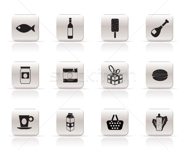 Bolt étel ital ikonok vektor ikon gyűjtemény Stock fotó © stoyanh