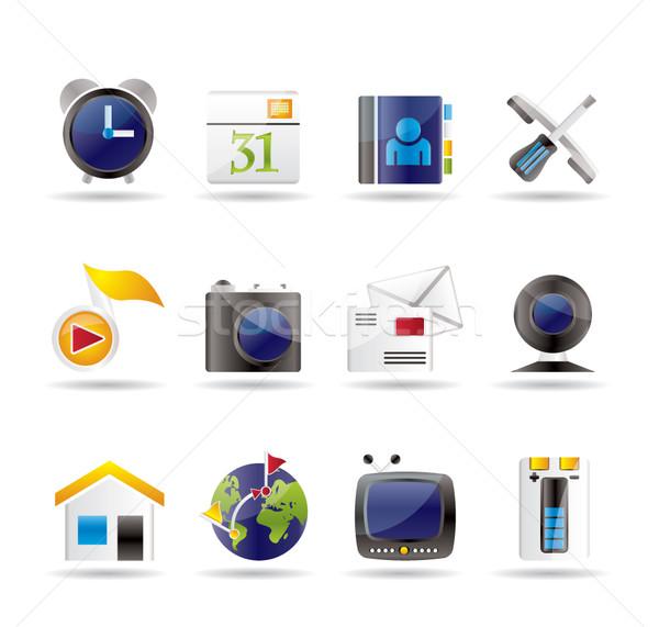 Mobiele telefoon computerpictogrammen vector huis boek Stockfoto © stoyanh