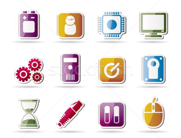 Foto stock: Computador · telefone · móvel · elementos · ícone · vetor