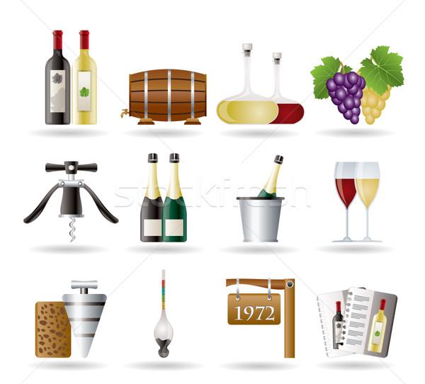 Wina pić ikona wektora projektu Zdjęcia stock © stoyanh