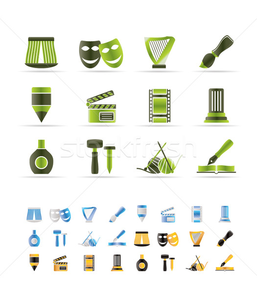 Stock photo: Different kind of art icons - vector icon set  - 3 colors included